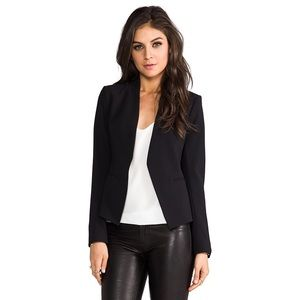 Theory Black Collarless Open Front Blazer - 0